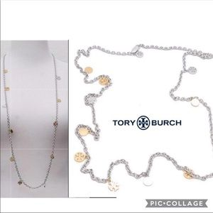 Tory Burch Silver/Gold Logo Charm Rosary Necklace.